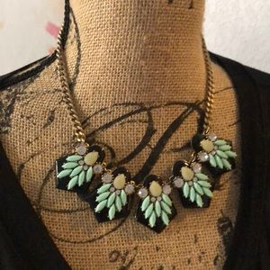 J Crew statement necklace black and turquoise